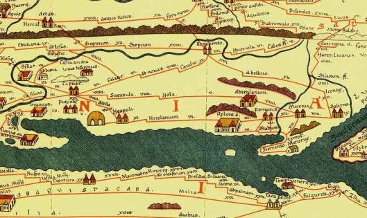 Courtesy of wikimedia commons: Crop of the Pompeii area from the Tabula Peutingeriana, 1-4th century CE. Facsimile edition by Conradi Millieri, 1887/1888.